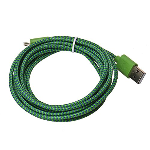 Iuhan 2M Hemp Rope Micro USB Charger Sync Data Cable Cord for Cell Phone (Mint Green)