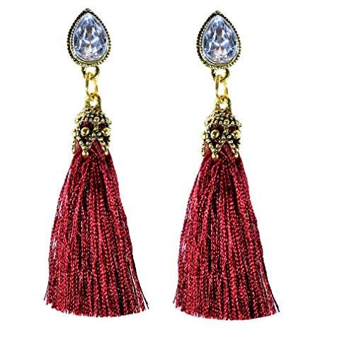 (IndigoEarrings Crystal Tassel Dangle Stud Earrings (Teardrop rhinestone wine red tassel))