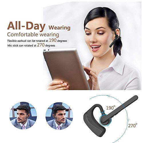 Bluetooth Headset, Wireless Earpiece V4.1 Ultralight HandsFree Business Earphone with Mic for Business/Office/Driving-Black by ADIID (Image #5)