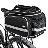 Tancendes Bike Rear Bag Lengthened Shoulder Strap waterproof Nylon Bicycle Seat Trunk Bag with Raincoat (Black)
