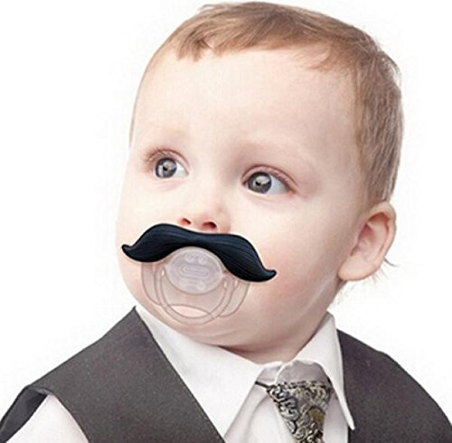 Baby Funny Dummy Prank Black Mustache Pacifier Clip Novelty Teether Children Child Soother Nipple