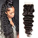 Donmily Brazilian Natural Wave Closure 1 Piece 44 inch Free Part 130% Density Unprocessed Virgin Human Hair Lace Closure Natural Color (12 inch) Review