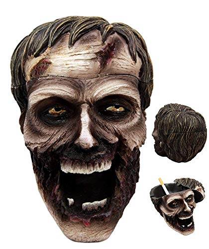 (Ebros Walking Dead Severed Zombie Head Lidded Cigarette Ashtray Figurine Smoking Dead Decor Statue)