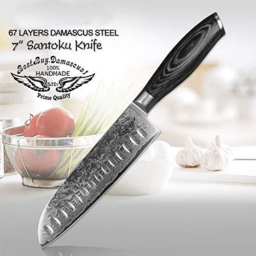 Classic Stag Folder - Santoku knife, Japanese VG10 Damascus Steel knife Santoku Professional Chef's Knife Black wood Handle - Series BBD1-SKB01