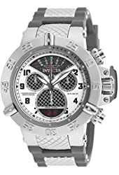 Invicta Mens Subaqua Noma III Swiss Made Quartz Chronograph Cage Subdial Gray Silicone Strap Watch