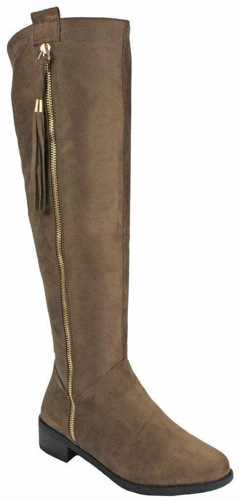 JJF Shoes Women Greta1 Taupe Tassel Faux Suede Gold Decorative Zip Quilted Knee High Boots-7.5