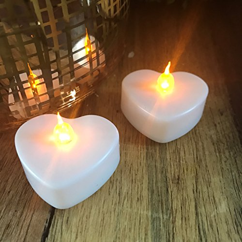 Hurricanes Heart (8 Unit Bundle of The Heart Shaped LED Tealight Candles, 4 Sets of 2 Blister Packs, Batteries Included, Warm Golden Glows, 1 3/4 Inch Wide)