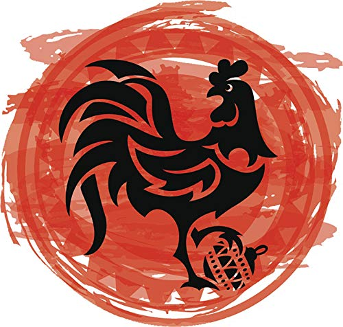 - Cool Orange 2017 Year of The Rooster Asian Zodiac Cartoon Icon (4