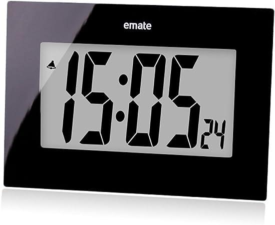 TENCO - Reloj de pared digital de 7,5 pulgadas con números grandes, moderno, funciona con pilas, no se rasga para dormitorio, sala de estar, cocina, decorativo, color negro: Amazon.es: Hogar