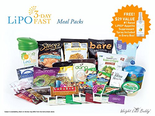 Portion Pack Kit - Lipo 3-Day Fast - Meal Packs, Intermittent Fasting Weight Loss Eating Plan - Pre Measured Pre Calculated Portions - Includes Appetite Suppressant Spray