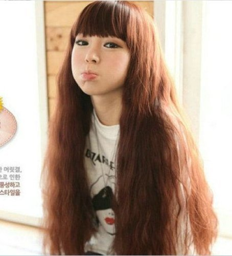 Cute Womens/girls Dark Brown Long Neat Bangs Fluffy Healthy Curly Kanekalon Full Wig