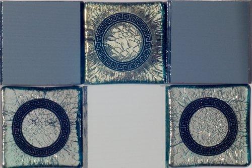 Susan Jablon Mosaics - Ring of Mirror Border Mosaic (Dichroic Glass Mosaic)