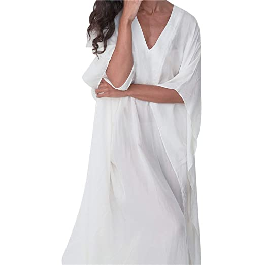 c1354e5218c Amazon.com: Gyouanime Women Long Maxi Dress V-Neck Bat Sleeve Long Dress  Floor Length Casual Dress Beach Sundress Cover Up: Clothing