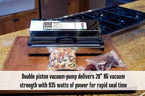 Weston Pro-2300 Commercial Grade Stainless Steel Vacuum Sealer (65-0201), Double Piston Pump