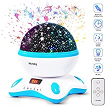 Music night light projector lamp Automatic Customize Timer and Remote Control with 12 Light Songs 8 Mutilcolor Lamp, 360 Degree Rotation Starry Night Sky USB Cable 6.5ft for Baby Bedroom(Blue White)