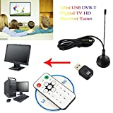 Mini USB DVB-T Digital TV HD Receiver Tuner Stick OSD MPEG-2/4 For Laptop PC (Black, 1pcs)