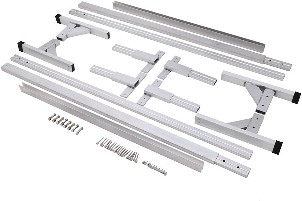 ELITEWILL Adjustable Heavy Duty Extruded Aluminum Trailer Roof Ladder Rack Fit for All Enclosed Trailers