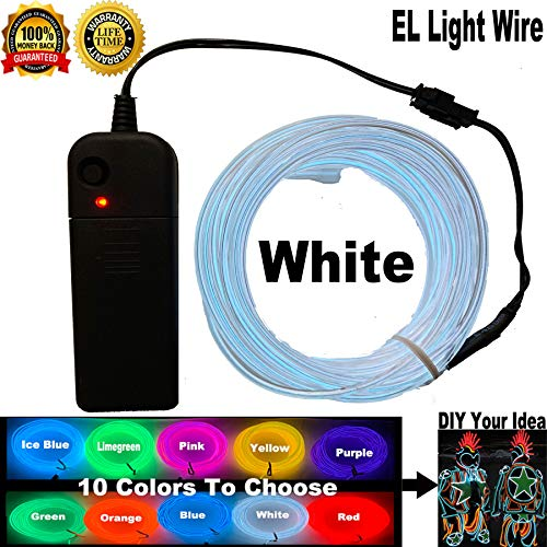 El Wire Kits For Clothes (ShineWorld EL Wire Kit DIY Decor Neon Lights Wire Glow Wire for Parties Halloween Christmas Dancing (15ft,)