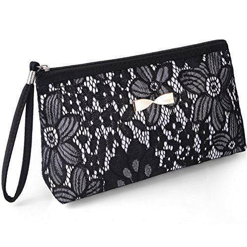 Miracu Lace Cosmetic Bag Portable Travel Makeup Bag Toiletry Bag with Hand Strap Storage Bag Evening Bag for Women (Black)