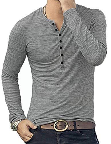 KUYIGO Mens Casual Slim Fit Basic Henley Long Sleeve T-Shirt (Large, Grey)