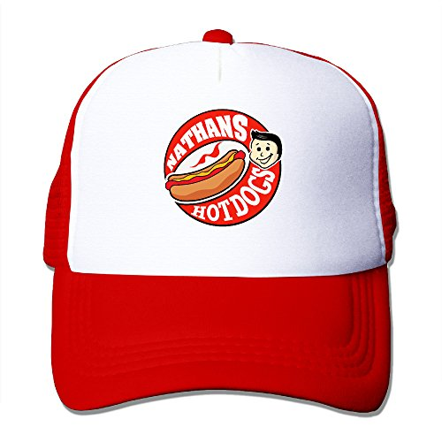 Candi Men's Delicious Nathan's Hot Dog Mesh Cap Sports UV Cut Flexfit Size One Size Red