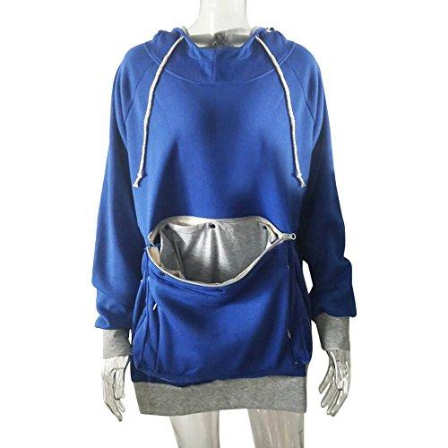 SFE Women Pet Pocket Hoodie Sweatshirt Dog Cat Carry Pocket Hooded Pullover Sportswear