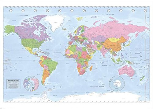 World Map (Political, Time Zones, Huge) Art Poster Print - 39x55