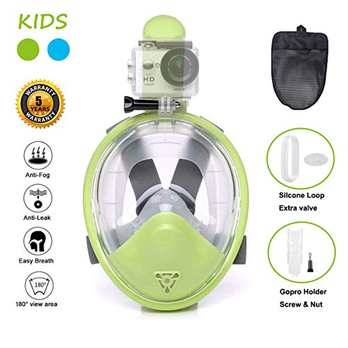 Ufanore Snorkel Mask for Kids [New Version 2.0] Full Face Snorkel Mask for Kids & Children, Foldable 180° Panoramic View, Free Breathing, Anti-Fog and Anti-Leak Snorkeling Mask with Gopro Mount, EAS