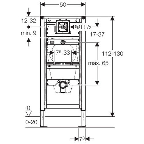 Geberit 111616001 Montage Element Duofix Urinal Uni 112 130 Cm