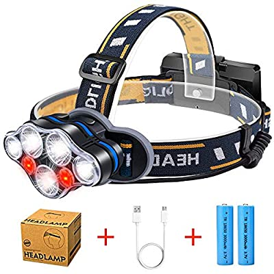 Headlamp Flashlight with Red Light, Karrong 7 Led Head lamps 18650 USB Rechargeable Headlight Waterproof 8 Modes Operation Bright Head Torch for Camping Running Hiking Reading Fishing