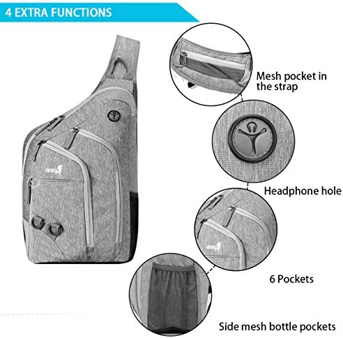 Plus Oversized Sling Backpack Men Women Double Layers Crossbody Backpack Rope Strap Bag 28L Fit for