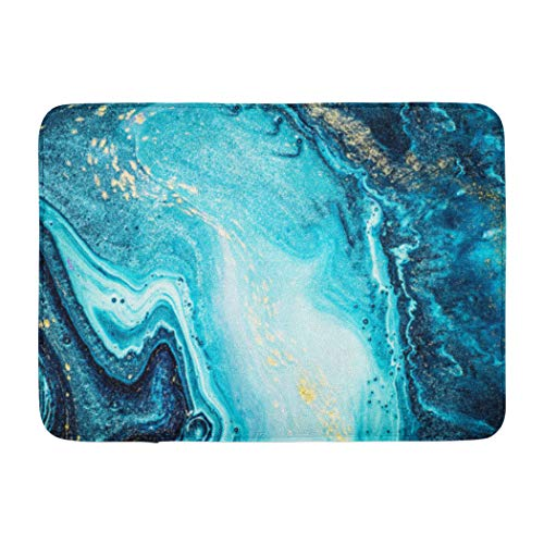 (Darkchocl Abstract Art Decorative Bath Mat Abstract Ocean Art Natural Luxury Stones Like Absorbent Non-Slip 100% Flannel 17''L x 24''W for Bathroom Toilet Bath Tub Living Room)