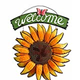 Vintage Hanging Butterfly Sunflower Welcome Sign Wall Sunflower Home Door Decor