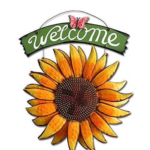 D-Fokes Handcrafts Vintage Metal Butterfly Sunflower Welcome Sign Front Door Decor Hanging Outdoor Wreath Decorative Door Porch Bar Cafe Shop Store