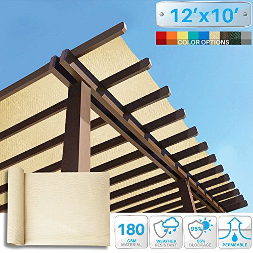 Patio Paradise 12' x 10' Sunblock Shade Cloth Roll,Beige Sun Shade Fabric 95% UV Resistant Mesh Netting Cover for - Pergola Shade