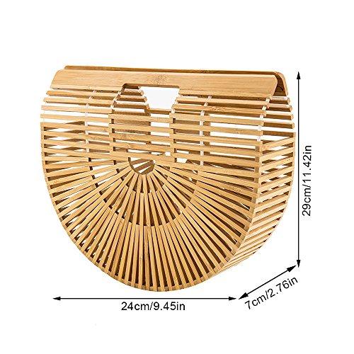 Bambù Donna Manico Borsa Mano in a con Doppio Borsa Spiaggia Rattan Intrecciato in da Borsa XanwFd