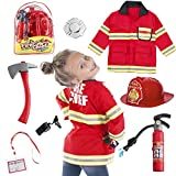 Born Toys 8 PC Premium Washable Kids Fireman Costume Toy for Kids,Boys,Girls,Toddlers, and Children...