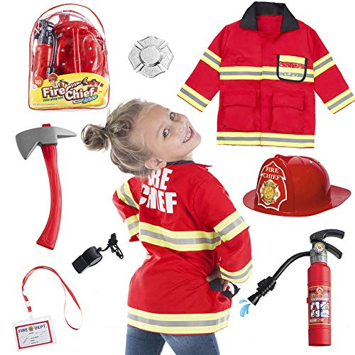 Fireman Sam Halloween Costumes (Born Toys 8 PC Premium Washable Kids Fireman Costume Toy for Kids,Boys,Girls,Toddlers, and Children with Complete Firefighter Accessories Great for)