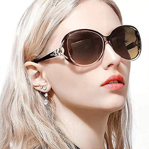 Classic Polarized Oversized Sunglasses for Women HD Lens UV Protection shades Fashion Retro Goggle Designer Eyewear (Brown Frame/Shades Brown Lens Oversized Polarized ()