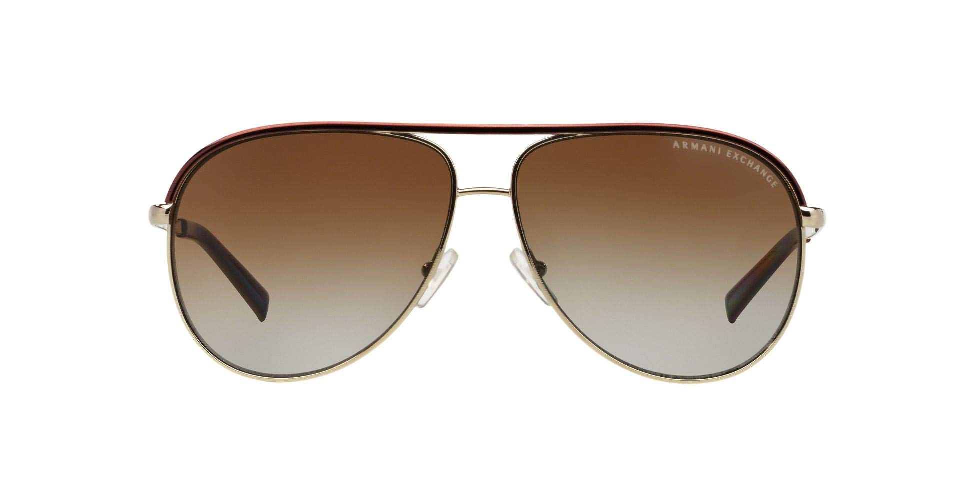 Armani Exchange Metal Unisex Polarized Aviator Sunglasses, Light Gold/Dark Brown, 61 mm by A|X Armani Exchange