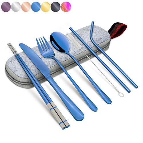 Annvchi Portable Flatware Stainless Set, Silverware Travel Portable Utensils Set with Case and Straw, Straight Straw, Knife, Fork, Spoon, Chopsticks, Cleaning Brush 8 Piece (Blue)