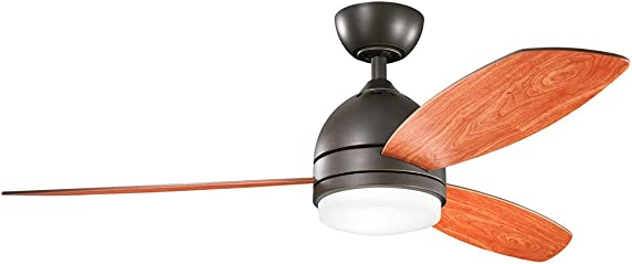 Kichler 330002OZ Vassar 52 Ceiling Fan with LED Light and Wall Control, Olde Bronze