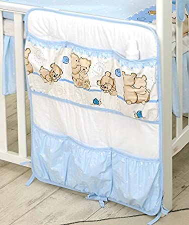 PRO COSMO Nursery Cot Tidy/Organiser with 6 pockets (#8, Blue Teddie)