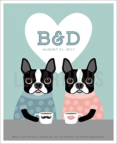 211P - Boston Terriers Drinking Coffee Custom Couple Initials in Heart UNFRAMED Wall Art Print by Lee ArtHaus