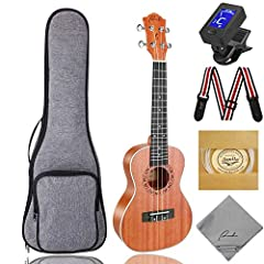 RANCH Concert Ukulele Instrument with Protective Gig Bag + Aquila Strings & Accessories Bundle Kit, 23 Inch Small Starter Guitar for Beginner  - A wonderful gift set for your friends and family who are a musician or to anyone close to you...