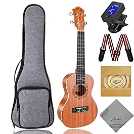 Concert Ukulele Ranch 23 inch Professional Wooden ukelele Instrument Kit with 12 Free Online Lessons Small Hawaiian…