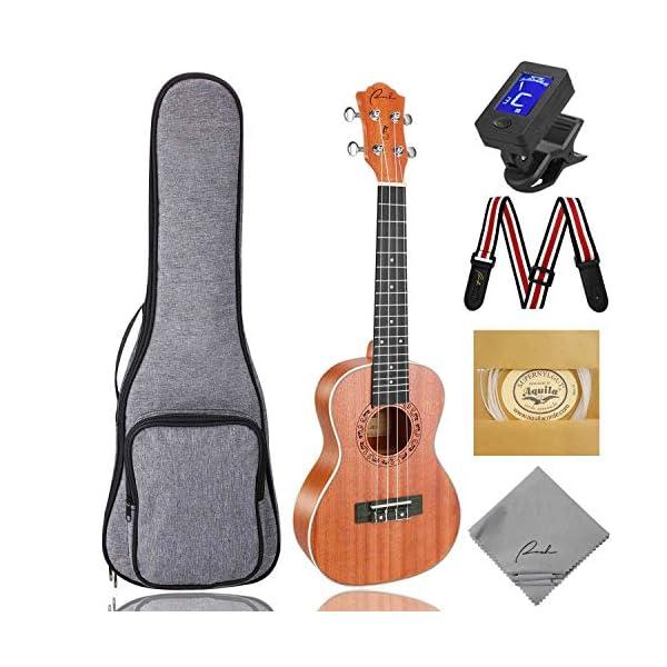 RANCH Matte Beginner Ukulele Starter Nylon Samll Guitar Bundle Gig Bag Tuner