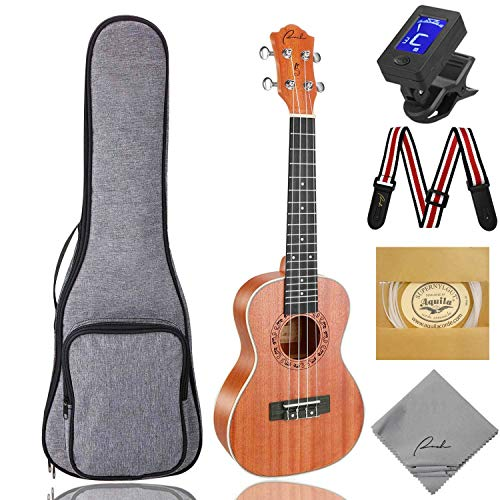 Concert Ukulele Ranch 23 inch Professional Wooden ukelele Instrument Kit With Free Online 12 Lessons Small Hawaiian Guitar ukalalee Pack Bundle Gig bag & Digital Tuner & Strap & 4 Aquila Strings Set (Medium Finish Caramel)