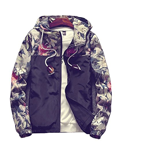 Banana Bucket Floral Bomber Jacket Men Hip Hop Slim Fit Flowers Bomber Jacket Coat Men's Hooded Jackets(US XL) Label Size ()