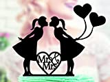 Lesbian Wedding Cake Topper Lesbian Silhouette Lesbian Cake Topper Same Sex Cake Topper Mrs and Mrs Acrylic Cake Topper